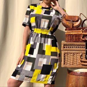 Kate Spade yellow silk color block dress 10